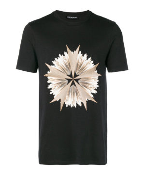 NEIL BARRETT: t-shirt - T-shirt in cotone stretch stampa a contrasto