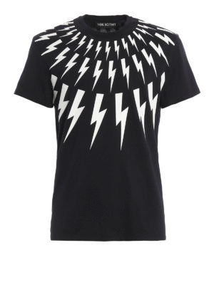 Neil Barrett: t-shirts - Lightning print cotton T-shirt