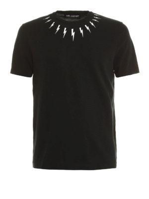 Neil Barrett: t-shirts - Lightning print cotton T-shirt