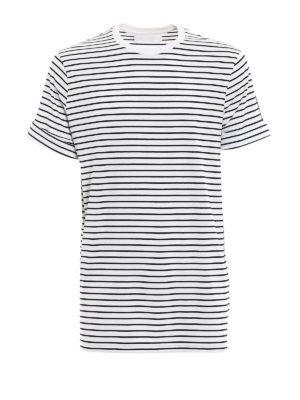 NEIL BARRETT: t-shirt - T-shirt a righe con loose long fit