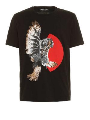 Neil Barrett: t-shirts - Mechanical eagle cotton T-shirt