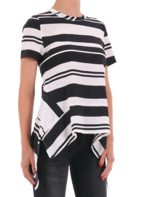 Neil Barrett: t-shirts online - Asymmetrical striped silk T-shirt