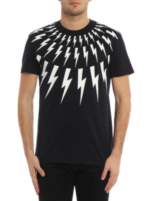 Neil Barrett: t-shirts online - Lightning print cotton T-shirt