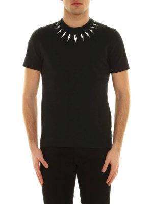Neil Barrett: t-shirts online - Lightning print cotton T-shirt