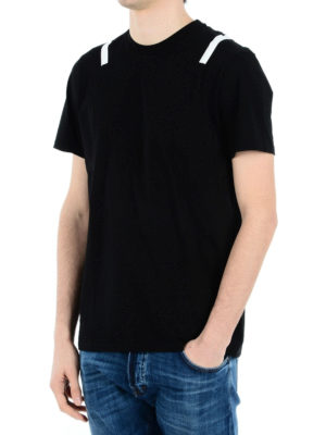 Neil Barrett: t-shirts online - Stripes detailed cotton T-shirt