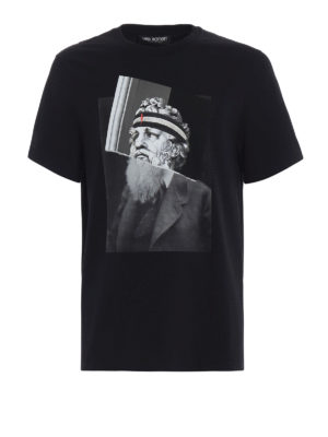 NEIL BARRETT: t-shirt - T-shirt nera con stampa Poseidon Philosopher