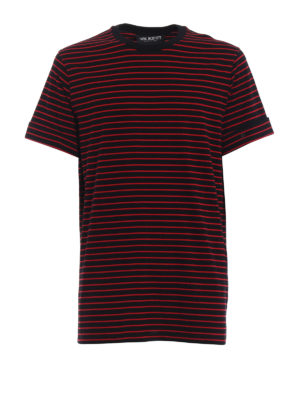 NEIL BARRETT: t-shirt - T-shirt over in cotone a righe