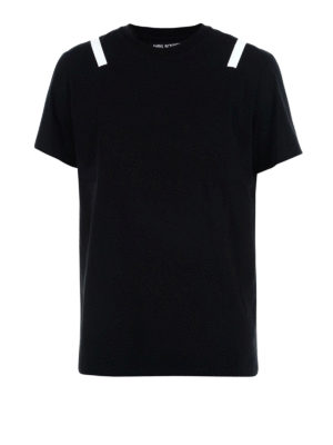 Neil Barrett: t-shirts - Stripes detailed cotton T-shirt