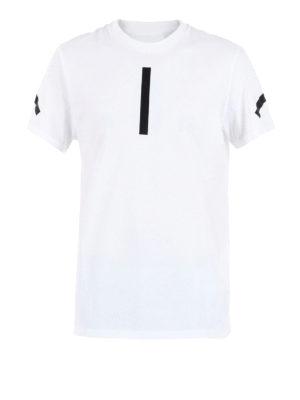 Neil Barrett: t-shirts - Stripes detailed jersey T-shirt