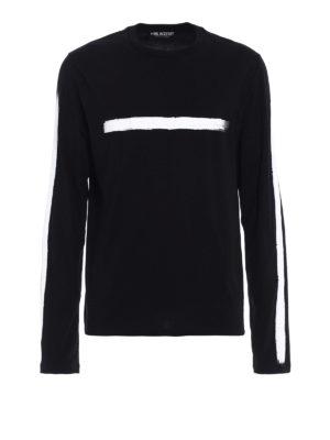 Neil Barrett: t-shirts - White brush stroke cotton T-shirt