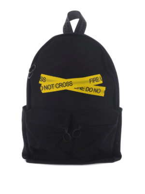 Off-White: backpacks - Firetape cotton canvas backpack