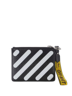 OFF-WHITE: pochette - Clutch Diag due in uno nera