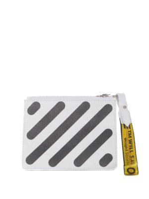 OFF-WHITE: pochette - Clutch Diag due in uno bianca