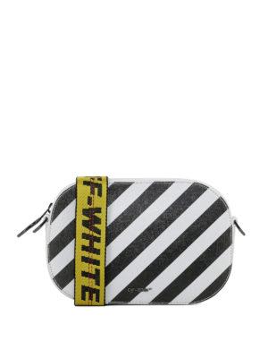 OFF-WHITE: borse a tracolla - Borsa a tracolla Diag Camera in pelle