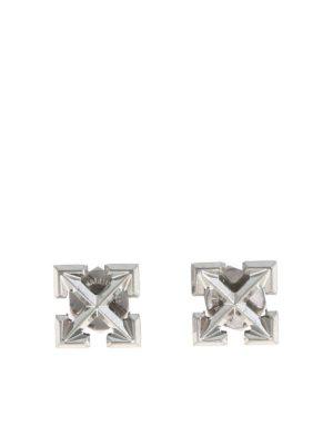 OFF-WHITE: Earrings - Mini Arrow earrings in silver color