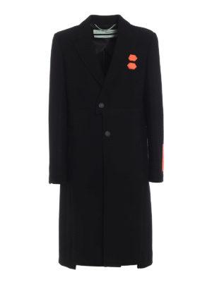 OFF-WHITE: cappotti al ginocchio - Cappotto Sb in misto lana con applicazioni