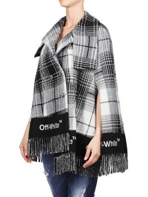 OFF-WHITE: Mantelle e poncho online - Mantella asimmetrica Check Blanket