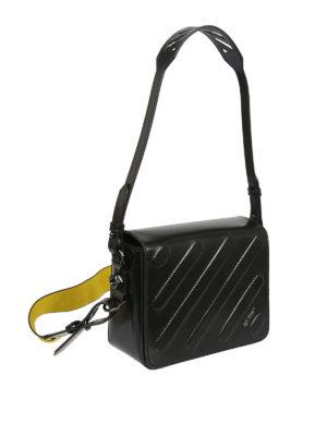 OFF-WHITE: borse a tracolla online - Borsa in pelle trapuntata con tracolla logo