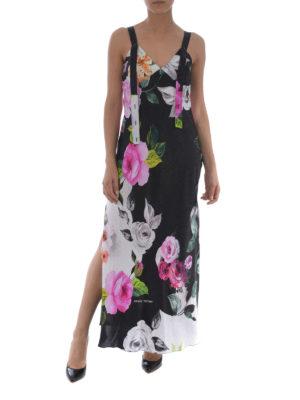 OFF-WHITE: abiti lunghi online - Abito smanicato in seta floreale