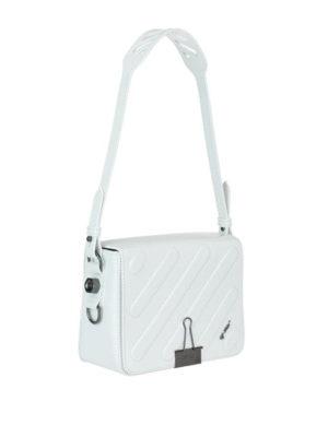 OFF-WHITE: borse a spalla online - Borsa a spalla Diag bianca patta trapuntata