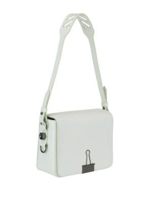 OFF-WHITE: borse a spalla online - Borsa a spalla squadrata in pelle bianca Diag