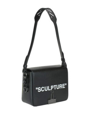 OFF-WHITE: borse a spalla online - Borsa a spalla squadrata Sculpture in pelle