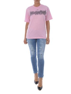 OFF-WHITE: t-shirt online - T-shirt con ricamo natural
