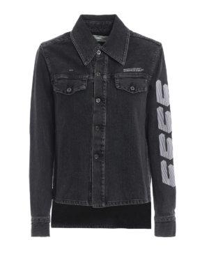 OFF-WHITE: camicie - Camicia in denim grigio più corta davanti