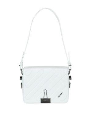 OFF-WHITE: borse a spalla - Borsa a spalla Diag bianca patta trapuntata