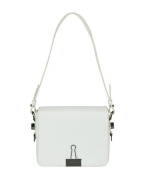 OFF-WHITE: borse a spalla - Borsa a spalla squadrata in pelle bianca Diag