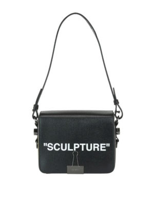 OFF-WHITE: borse a spalla - Borsa a spalla squadrata Sculpture in pelle