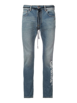 OFF-WHITE: jeans skinny - Jeans skinny con stampa Off-White