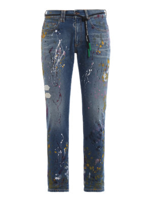 OFF-WHITE: skinny jeans - Vintage Paint skinny crop jeans