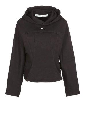 OFF-WHITE: Felpe e maglie - Felpa nera con cappuccio avvolgente