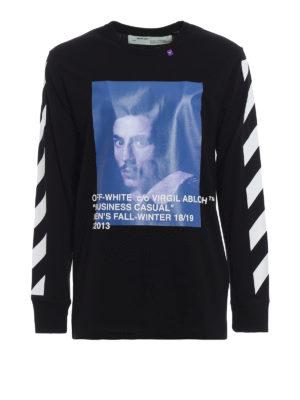 OFF-WHITE: t-shirt - T-shirt Diag Bernini a maniche lunghe