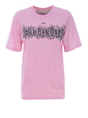 OFF-WHITE: t-shirt - T-shirt con ricamo natural