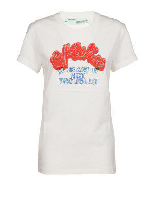 OFF-WHITE: t-shirt - T-shirt lunga in cotone con stampa