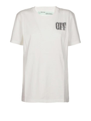 OFF-WHITE: t-shirt - T-shirt lunga in cotone con stampa OFF