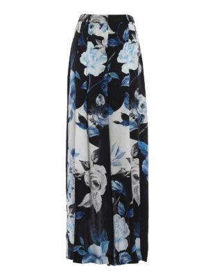 OFF-WHITE: Pantaloni sartoriali - Pantalone palazzo Floral Abloh in seta