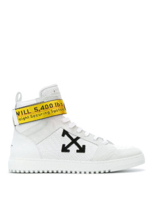 Off-White: trainers - Drilled leather high-top sneakers