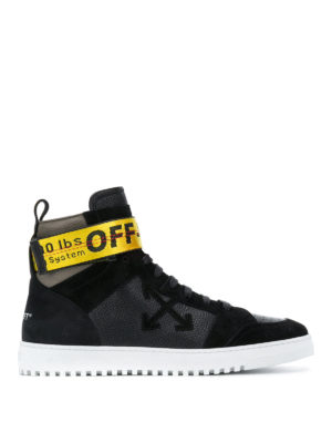 Off-White: trainers - Drilled leather high top sneakers