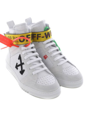 Off-White: trainers online - Drilled leather high-top sneakers