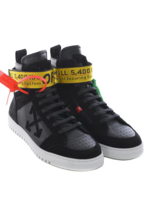 Off-White: trainers online - Drilled leather high top sneakers