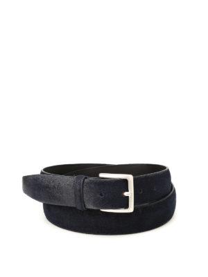 Orciani: belts - Blue brushed suede belt