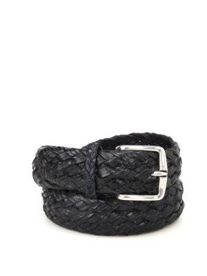ORCIANI: cinture - Cintura in pelle intrecciata blu
