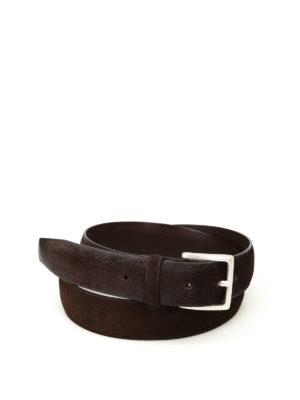 Orciani: belts - Brown brushed suede belt