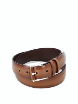 ORCIANI: cinture - Cintura Buffer in pelle color cuoio