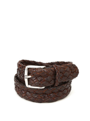 ORCIANI: cinture - Cintura in pelle intrecciata ebano