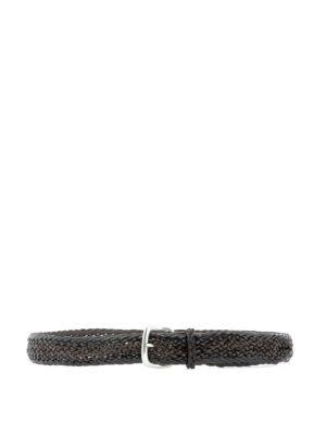 53707c3c5d0b ORCIANI: cinture - Cintura in pelle intrecciata marrone