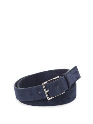 Orciani: belts - Camoscio dark blue suede belt
